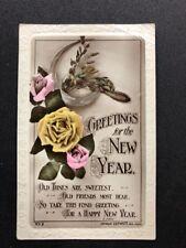 Vintage Postcard: New Years Greetings #AA437: Lilywhite:,Posted 1915: Stamp Turn