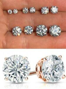 Real Moissanite Stud Earrings Diamond Tester Size 0.4-8ct 14k Rose Gold Vermeil