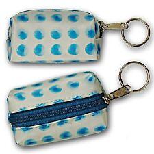 Spinning Blue Polka Dot Lipstick Coin Purse Keychain Lenticular #R-042-GLOBI#