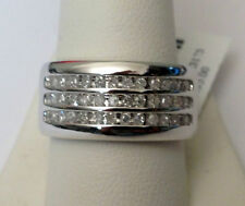 Size 11  3 Rows 11mm Wide MENS DIAMONDS WEDDING BAND White GOLD Anniversary Ring