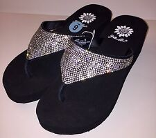 3b2c7fd41d8c Yellow Box Womens Flip Flops Rhinestone Glitter Wedge Sparkle Kristian Party