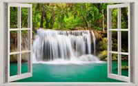 Rainforest Waterfall 3D Window View Wall Stickers Art Mural Decor Vinyl Decal