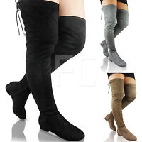 NEW WOMENS LADIES LOW FLAT HEEL BLOCK THIGH HIGH OVER KNEE RIDING BOOTS SIZE ZIP
