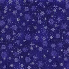 Snowflakes Snow Royal Blue Landscape Medley Quilt Sew Fabric ELIZABETH'S STUDIO
