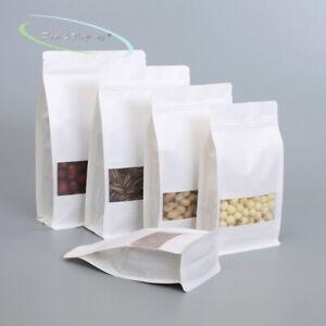 White Kraft Paper Stand up Zip Lock Gusset Side Bag window resealable zipper