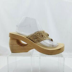 Skechers SOMETHIN' ELSE TanCrochet Beaded Wedge Sandals Retro Size 10