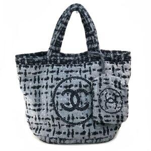 CHANEL A78235 CC logo pile Shoulder Bag with pouch Tote Bag cotton Gray/Black