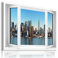NEW YORK CENTRAL PARK WINTER SNOW 3D Window View Canvas Wall Art  W189 MATAGA .