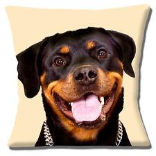 Young Perro Rottweiler Marrón Negro SMILING Foto estampada 40.6cm Funda De Cojín