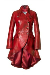 Women's Fitted Lambs Leather Red Tailcoat Riding Equestrian Coat Jacket Impero