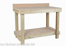 NEW 4FT NEW HANDMADE WOODEN WORKBENCH  MDF TOP HEAVY DUTY - with upstand