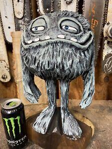Mr. JOE KOOL MONSTER Chainsaw Carving BLACK WALNUT Wooden MONSTER Statue UNIQUE!