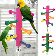 Bird Perch Stand Play Fun Toys Gym Wooden Rotate Ladder Cage Climbing