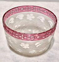 RARE Antique Baccarat Cut to Clear Engraved Glass Finger Bowl - AWESOME!