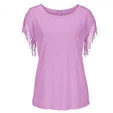 Womens Casual Tassel Fringe Blouse Ladies Casual Loose Top T-shirts UK Size 6-14