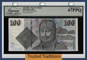 TT PK 48c 1990 AUSTRALIA RESERVE BANK 100 DOLLARS MAWSON LCG 67 PPQ SUPERB GEM!