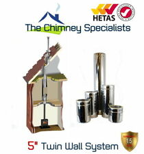 Twin Wall Insulated Flue Pipe - 5 inch 125mm Internal Cranked Chimney System