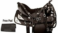 NEW 16 17 18 BLACK SYNTHETIC ARABIAN PLEASURE TRAIL HORSE SADDLE TACK SET