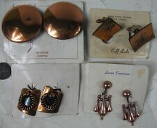 4 Vintage 1950's Clip-on Earrings Cufflinks Copper on Cards