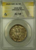 1926 Oregon Trail Commemorative Silver Half Dollar 50c Coin ANACS AU-58