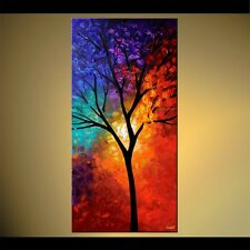 """48""""x24"""" Tree of Life - PRINT STRETCHED & EMBELLISHED - ABSTRACT Art by OSNAT"""