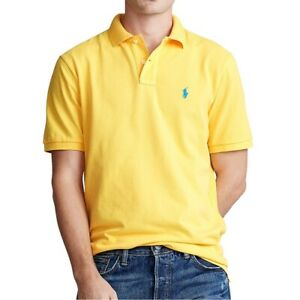 Ralph Lauren Men's Classic Fit Short Sleeve Mesh Polo Shirt Yellow Fin