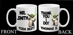 Personalised Star Wars Yoda Mug Teacher Thank You Birthday Gift Present