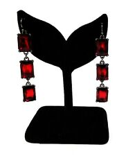 NEW WA STUDIO GUNMETAL TONE,RED RUBY LARGE CRYSTALS,DANGLE DROP EARRINGS
