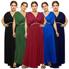 Muslim Women Batwing Sleeve V-neck Dress Evening Party Maxi Prom Gown Plus Size