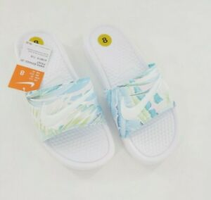 Nike Womens Benassi Just Do It Floral Print Slides Sandals 618919-115 White Sz 8