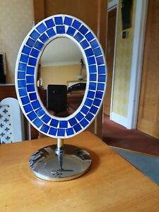 Swivel Makeup Bath Shaving Oval Table Mirror With Mosaic Pattern & Metal Stand