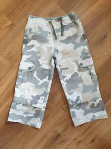 Boden, Boys Green Camouflage Zip Off Cargo Trousers/Shorts, Age 5-6 Years