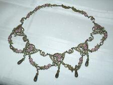 Roxanne Assoulin Enamel Rhinestone Green Pink Statement Necklace With Teardrops