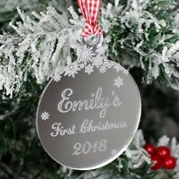 Baby's First Christmas Bauble Personalised Name Tree Decoration Xmas Gift Mirror