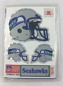 NFL 1989-90 U-Seal-It - Seattle Seahawks 3-Sticker Pack-Helmet-Hotshot-Huddle