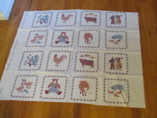 """16 Quilt Square 8"""" Blocks Calico Country Farm Fabric Panel Cut and Sew AJ92"""