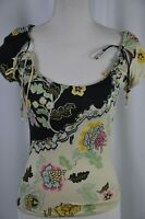 Roberto Cavalli Women's Blouse Size XS Cropped Floral Scoop Neck Boho Colorful