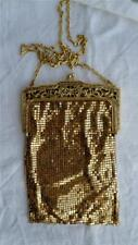 Antique Whiting & Davis Gold Metal Mesh Bag/Purse with Ornate frame C1910