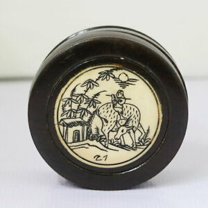 ANTIQUE WOOD POCKET COMPASS SUNDIAL FOLDING EARLY TRAVEL