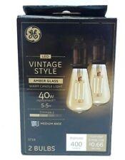 GE Lighting Vintage Style Candle, Warm Light,Candelabra Base 2 bulbs 400lumes
