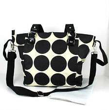 Nappy Diaper Bag Delux Black Dots Design Changing Bag & FREE Changing Mat