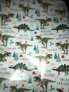 XLarge 2M x 69m Flat Sheet Christmas Dinosaur Wrapping Paper & 3 Matching Tags