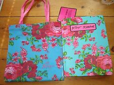 BETSEY JOHNSON TEAL W/ ROSE LOT ACCESSORIES- PLASTIC LUNCH TOTE & NOTE BOOK