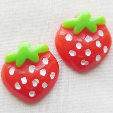 50pcs Mini Strawberry Resin Flatback Button DIY Scrapbooking Accessories
