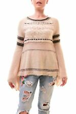 Free People Women's Craft Time Bell Sleeve Sweater Size XS Oatmeal RRP £99 BCF78