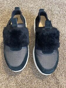 UGG Pico Black Neoprene Suede Fashion Sneakers Women's 7 Wedge Heel