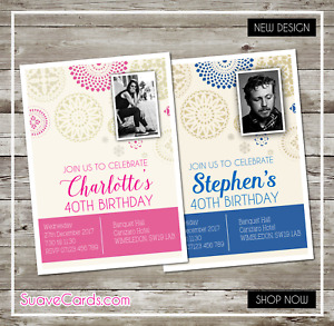 40th Birthday Party Invitations 50th 60th 30th 70th Meal Bash Personal Photo