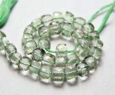 5 Pcs Natural Green Amethyst 3D Cube Box 6-7mm Faceted Gemstone Beads