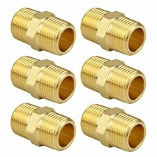 New Listing6 Pack Besosay Brass Pipe Fitting Hex Nipple 38x38 Npt Male Straight Pi