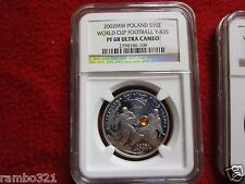 2002 Poland Silver 10zl NGC PF68 2002 World Football Cup Korea/Japan soccer coin